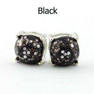 Jewelry - Black Glitter Oversized Stud Earrings